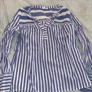 blue and white stripes dress top